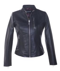 """21141W - Women's Lambskin """"Cafe"""" Leather Jacket (Black)"""