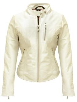 "21141W - Women's Lambskin ""Cafe"" Leather Jacket (Offwhite)"