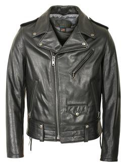 525 - Natural Pebble Cowhide Motorcycle Leather Jacket (Black) (Black)