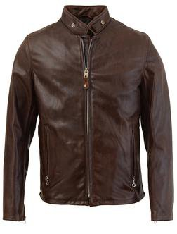 654 - Cowhide Casual Racer Leather Jacket (Brown)