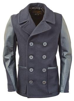 DU799 - Men's Slim Fit Pea Coat (Navy) (New Navy)