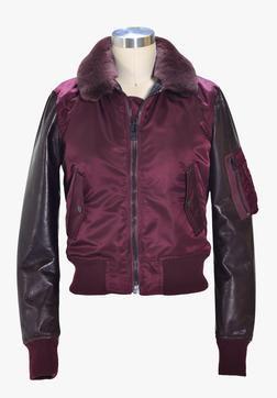 9515W - Women's nylon and  lambskin MA-1 flight  jacket (Burgundy)