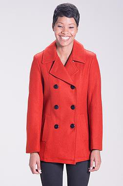 DU751W Red Pea Coat (FRONT)