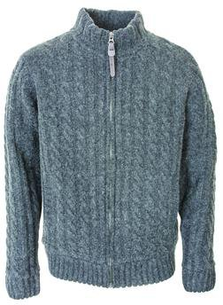 """F1410 - 27"""" Cableknit Sweater Jacket (Charcoal)"""