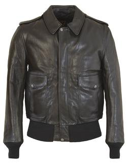 FLT5 - Men's A-2 Leather Flight Jacket in Soft Touch Naked Pebbled Cowhide (Black)