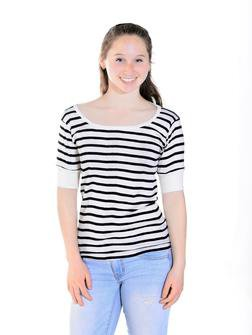 K505W - Women's Scoop Neck Short Sleeve Shirt with Thick Stripe (Natural)