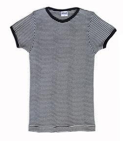 K507W - Women's Short Sleeve Striped Crew Neck (Black)