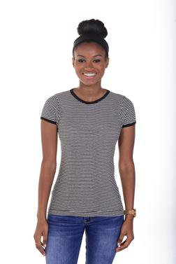 K507W - Women's Short Sleeve Striped Crew Neck (Black)