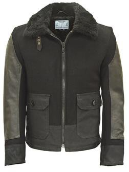 P797S - ANJ4 Leather and Waxed Cotton Bomber Jacket (Black)
