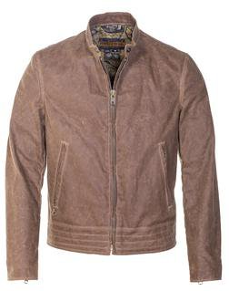 P9525 - Waxed Cotton Café Racer Motorcycle Jacket