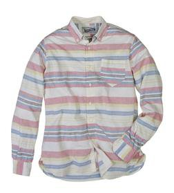 SH1323 - Lightweight Fine Weave Cotton Gauze Horizontal Striped Shirt (Multicolor)