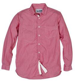 SH1327 - Fine Weave Ticking Stripe Cotton Shirt (Red) - Limited Sizes (Red)
