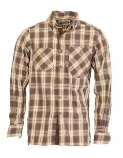 SH1376 - Cotton Plaid Two Pocket Work Shirt (Brown)