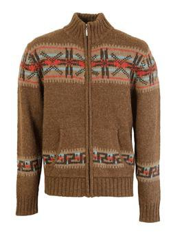 SW1368 - Wool Blend Zip Front Convertible Collar Cardigan (Brown)