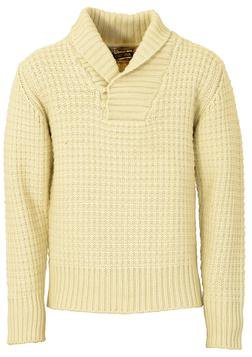 SW1372 - Wool Blend Heavy Weight ¼ Pullover Waffle Knit Sweater (Offwhite)