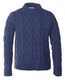 Navy Blue Cable-Knit Sweater