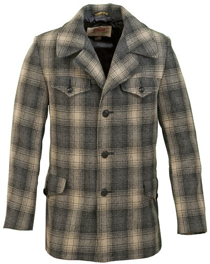 "724P - 32"" 24 ounce wool plaid retro style car-coat"