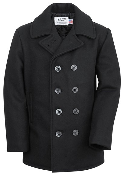 740X - Classic Melton Pea Coat in Larger Sizes (Navy)